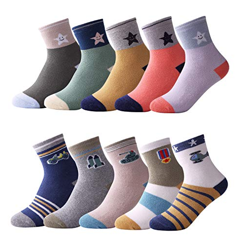 10 Pairs Kids Boys Casual & Dress Socks Girls Fashion Cotton Toddlers Boys  Socks For Baby Sports Sock (Star Thick, 5-7Years) | WantItAll
