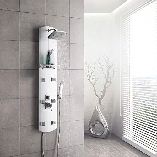 Wasserfall Duschs/äule Handbrause Onyzpily LED Duschpaneel Edelstahl Mit Massagend/üsen Geb/ürsteter Edelstahl /… Regendusche