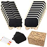 OurWarm 20 Pack Mini Chalkboard Signs for Food, Small Wood Chalkboard Labels with Easel Stand for Wedding Signs, Food Signs, Message Board, Place Cards