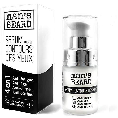 man's beard - Fabrication Française - Contour des Yeux , Anti-rides et Anti-poches, Défatiguant et Lissant à l' Acide Hyaluronique pour homme et femme - 15 ml