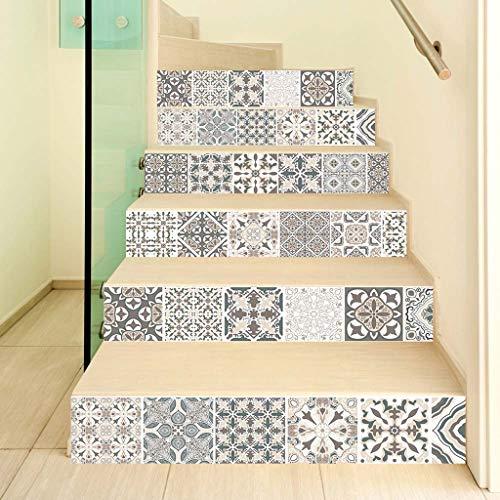 JOYKK 6Stücke / Set 3D-Blumentreppe Treppensteig-Bodenaufkleber Selbstklebende DIY-Treppe Wasserdichtes PVC-Wandtattoo