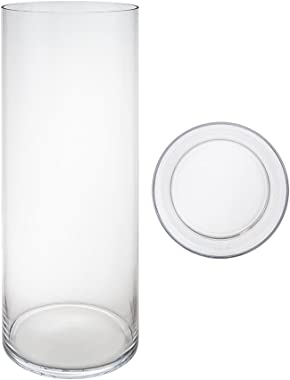 Mega Vases Cylinder Vase 7 Inch x 24 Inch, Decorative Clear Glass with Sturdy Base, Wedding Centerpieces, Flower Bouquets, Ho