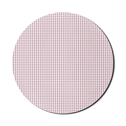 Abstraktes Mauspad für Computer, sich wiederholende zarte rosa Rauten-Gitter-Netz-einfache Illustration, rundes rutschfestes dickes Gummi-modernes Gaming-Mousepad, 8 'rundes, dunkles Himmelblau Rose