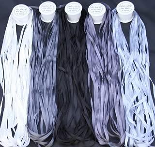 New ThreadNanny 5 Spools of 100% Pure Silk Ribbons - Grey Tones - 50 MTS x 4mm