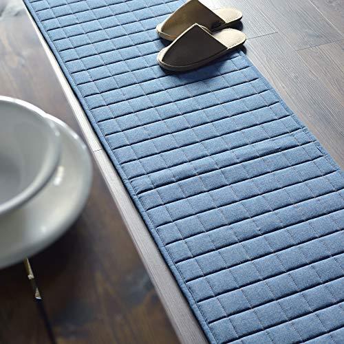 デニム ラグ ラグマット 洗える 夏 夏用 オールシーズン 床暖房対応 1.5畳 ライト ブルー ゴールド ステッチ 130x180 cm