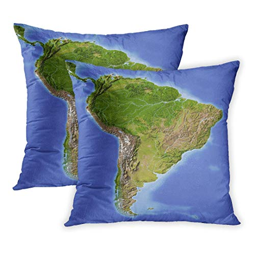 Mapa de relieve sombreado de América del Sur de Amazon coloreado según la fuente de datos de vegetación Nasa Chile Brasil Perú Funda de almohada, 18X18 in