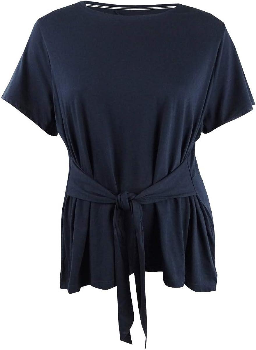 Tommy Hilfiger Womens Plus Logo Tie-Waist T-Shirt