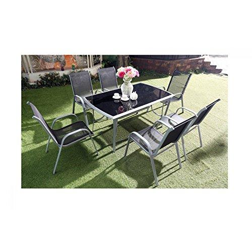 JFB Le Grenadin : Salon de Jardin Table et 6 chaises en Aluminium