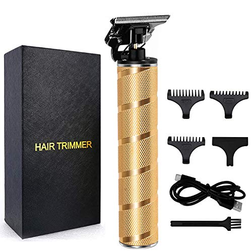 Professional Outliner Hair Clippers, T-Blade Cordless Hair Trimmer for Men 1mm Baldheaded Hair Clipper Zero Gapped Detail Waterproof Grooming Kit Beard Shaver Barbershop Gold