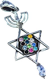 Silver 925 Pendant of Grafted in Messianic (Menorah, Star of David, Fish) with The Priestly Breastplate Hoshen Symbol - 12 Tribes of Israel Zircons Necklace Gift