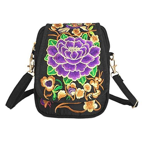 Boner vrouwen geborduurde Crossbody tas Vintage Floral etui Lady etnische portemonnee Casual reistas schoudertas, paars