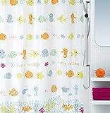 """Spirella Anti-Schimmel Duschvorhang - Anti-Bakteriell, waschbar, wasserdicht - Polyester, """"Fische"""" 180x200cm Bunt"""