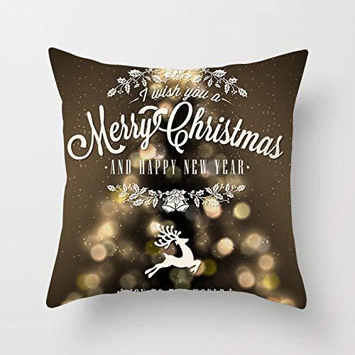 Jiaquhome Gold Bronzing Black Merry Christmas Cushion Cover Decor for Home Xmas Gift 2PC