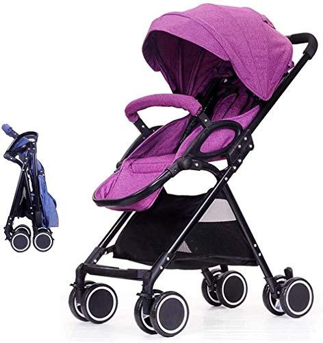 OESFL Cochecito de bebé portable del carro del cochecito de bebé Cochecito cochecito de bebé con True modo de cuna, asiento reversible, con una mano Fold, Almacenamiento extra, Azul (Color : Purple)