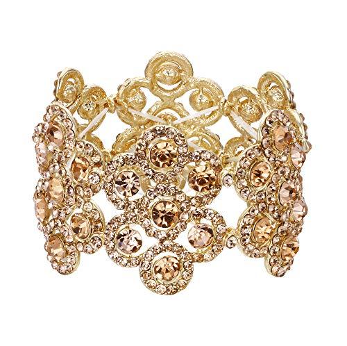 EVER FAITH Damen Armband Österreich Kristall Hochzeit Braut Blumen Stretch-Armkette Armreif Champagn Gold-Ton