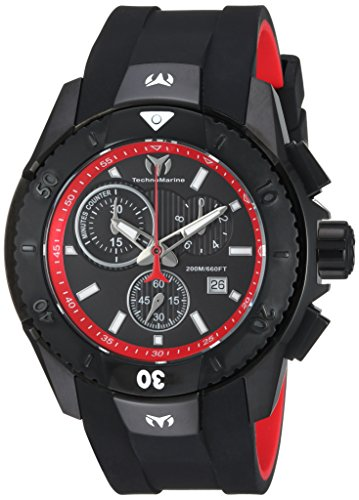 Technomarine Men's UF6 Stainless Steel Quartz Watch with Silicone Strap, Black, 26 (Model: TM-616002)