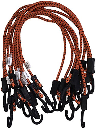 Kotap MABC-32 All Purpose Light Duty Adjustable Bungee Cords, Orange/Black, 32-Inch (10-Count)