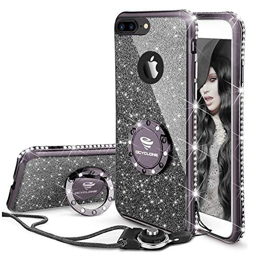 Cute iPhone 8 Plus Case, Cute iPhone 7 Plus Case, Glitter Luxury Bling Diamond Rhinestone Bumper with Ring Grip Kickstand Protective Thin Girly iPhone 8 Plus/ 7 Plus Case for Women Girl - Black
