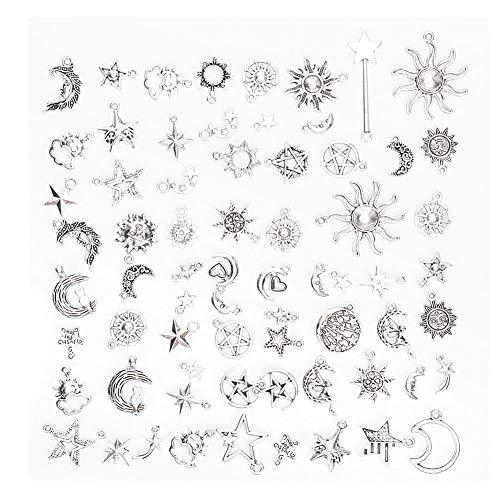 Accesorios para colgantes de bricolaje, 70 piezas de plata tibetana con diseño de estrella y sol y luna, accesorio para hacer joyas para bricolaje, collar, pulsera