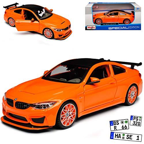 B-M-W 4er M4 F82 GTS Coupe Orange mit Karbon Dach Ab 2014 1/24 Maisto Modell Auto