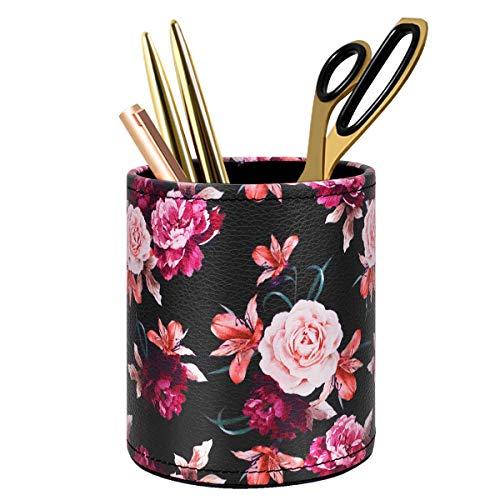 Pen Pencil Holder, WAVEYU Floral Flower Pattern Pen Cup Container PU Leather Desk Organizer Stand Decor Brush Scissor Holder Desk Organizer Decoration for Office Desk Home Decorative, Floral