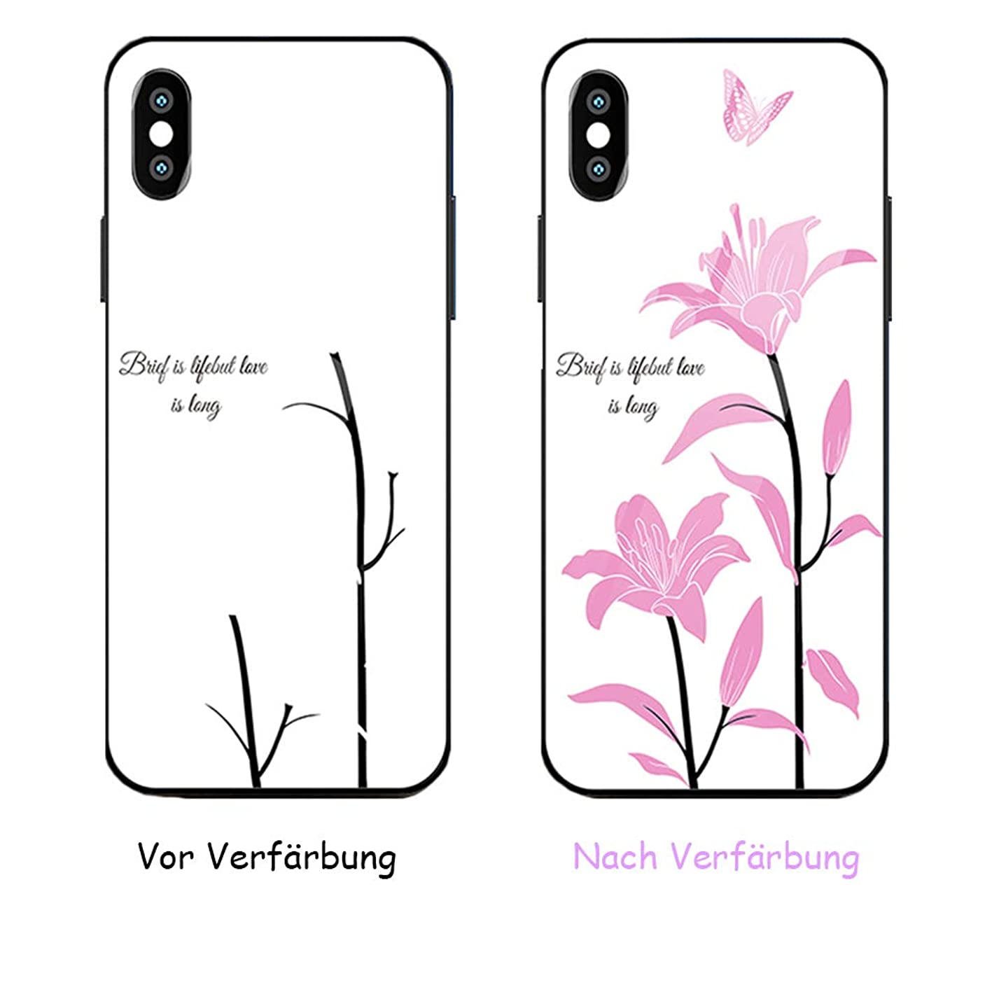 JZWDMD for iPhone X/XS Case, iPhone Xs MAX Case Color Change Glass Women's Silicone Fall Prevention Personality Creative All Inclusive Fashion Ultrathin Protective Cover Soft Shell wjbjlqlcjbt308