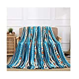 All American Collection Super Soft Ultra Comfort Plush Microfiber Solid Throw Blanket for Couch Home Bedroom Living Room (King, Beverly Blue Southwest)