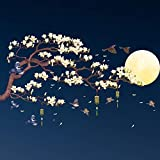 Amaonm Chinese Style Yellow Flowers Brown Tree and Flying Birds Moon Wall Stickers Removable DIY Wall Art Decor Decals Murals for Offices Home Walls Bedroom Study Room Wall Decaorations