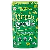 BIO Smoothie Pulver: 100g Green Smoothie Pulver mit Spinat, Bio Matcha Pulver, Spirulina Pulver, Bio Gerstengras Pulver uvm. – Grüner Smoothie Mix – Glutenfreie, vegane Bio Greens Pulver von NutriPur