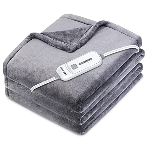 Eopecles Electric Blanket Heated Throw, 72'x84' Reversible Flannel, with 8 Hours of Auto-Off & 3 Heating Levels and ETL Certification, Home Office Use & Machine Washable, Grey