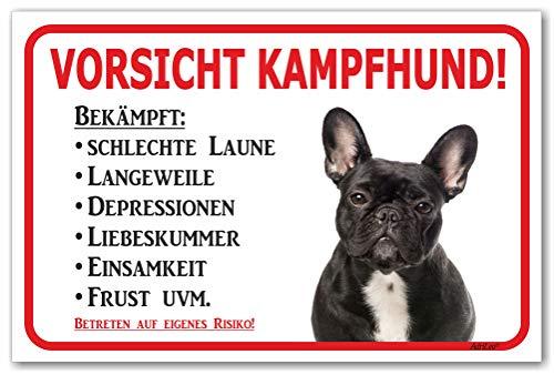 AdriLeo Schild - Vorsicht Schwarze französische Bulldogge - Kampfhund - (20x30cm) / Achtung Hund Wachhund