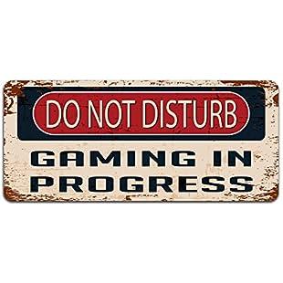 Print Crafted Do Not Disturb Gaming In Progress - Vintage Metal Sign | Funny Bedroom, Office, Man Cave Door Decor:Tudosobrediabetes