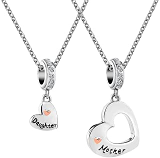 ShinyJewelry Mother Daughter Matching Love Heart Pendant Necklace Set for 2