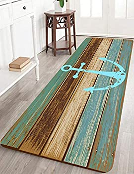 Bathroom Rugs Kitchen Rug Non-Slip Soft Absorbent Bath Mats with Nautical Anchor Flannel for Bathroom Kitchen and Hallway 24 inches X 71 inches Turquoise/Brown