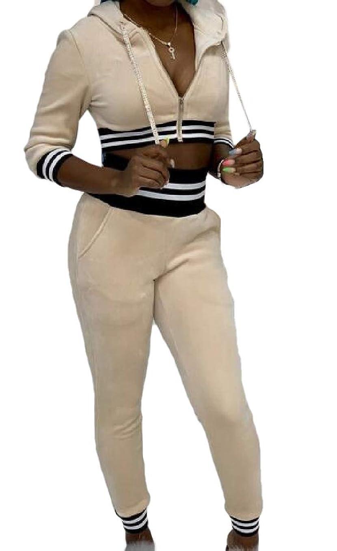 郵便番号覆すパークWomen 2 Piece Outfit Hooded Sport Bodycon Drawstring Crop Top Long Pant Tracksuit Set