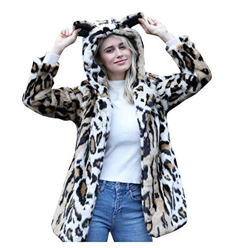 Women Shaggy Coats Winter Warm Ear Hooded Faux Furs Jacket Outwear URIBAKE