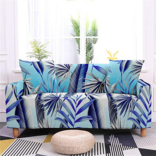Stretch Sofa Couch Covers Elastic Fabric Blue Banana Leaf Pattern All-Inclusive Loveseat Cover Anti-Slip Tight Wrap Settee Slipcover For Living Room Decor,1,seat 90,140cm