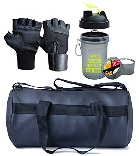 Hyper Adam AN-90 Antique Gym Bag, Protein Shaker and Gym Glove with Wrist Support Combo