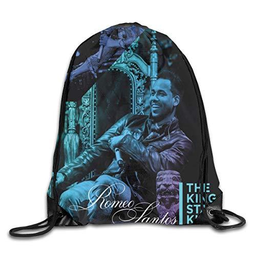 Hdadwy Romeo Santos The King Stays King Mochila de Moda con diseño de Hombro, Bolso con cordón, Bolsos para Hombre y Mujer, Talla única