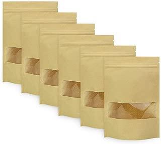 Bolsa de embalaje Tama/ño : 9 * 14 Paquete de Almacenamiento de Alimentos Ventana Cremallera Pl/ástico XiBag 100 UNIDS Lev/ántese la Bolsa de Papel Kraft Marr/ón Claro Cremallera