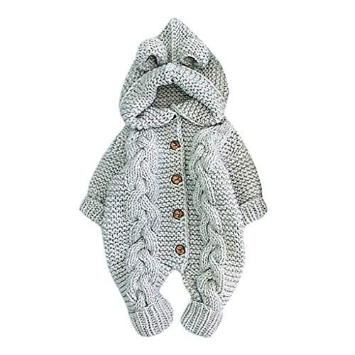 Baby Strickwaren Mädchen Jungen Pullover Strampler Langarm Strick Hoodie Overall Herbst Winter Kleidung 0-25 Neugeborene Gestrickt Homesuit Babykleidung Bequem Bekleidungssets Baby Body Outfit