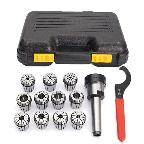 Nologo LL-LL 11Pcs 1/8-3/4 Inch Collects Set with Mt3 1/2 Shank Chuck and Spanner for Milling Machine Drill