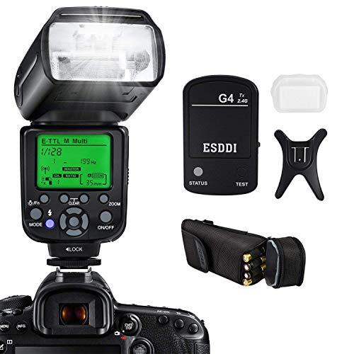 Flash Fotocamera ESDDI per Canon Fotocamera DSLR E-TTL 1/8000 HSS GN58 Multi Flash Master/Slave Trasmissione Wireless Trasmissione Ottica Incl Grilletto Wireless 2.4G Staffa Base Slitta Fredda