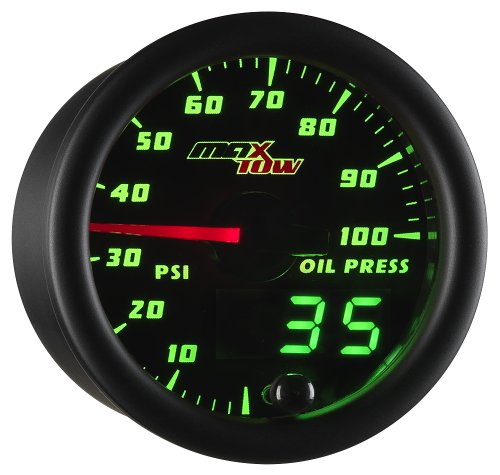 MaxTow Double Vision 100 PSI Oil Pressure Gauge Kit - Includes Electronic Sensor - Black Gauge Face - Green LED Illuminated Dial - Analog & Digital Readouts - for Trucks - 2-1 16  52mm