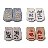 CalMyotis Baby Boy Gifts, Baby Gifts for Newborn Boys, Newborn Baby Gifts with Funny Quotes, Gender-Neutral Sock of Baby Gifts, Breathable Combed Cotton, Baby Shower Gifts for 3-12 Months, 4 Pairs