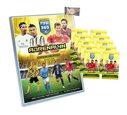 XL Panini Adrenalyn FIFA 365 Karten Trading Cards 2021 - 1 Sammelmappe + 10 Booster + Stickermarkt24de Gum