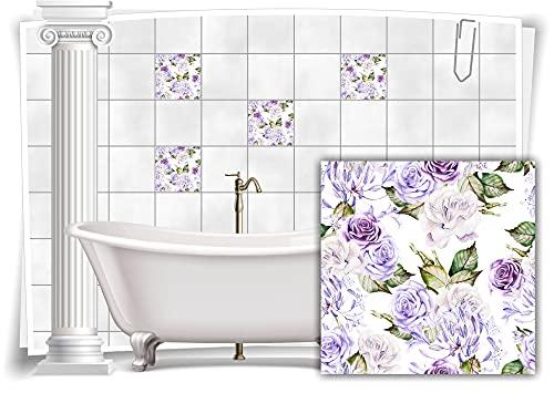 Medianlux M13m167-140979 - Adhesivo decorativo para azulejos (8 unidades, 15 x 15 cm), diseño de flores, color azul