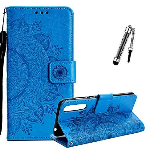 ZCRO Coque pour Huawei P20 Pro (Pas pour P20), Coque Housse Case Portefeuille Cover Élégant Cuir Porte Carte Magnétique Rabat Flip Case Etui Antichoc et Stylet pour Huawei P20 Pro (Bleu)