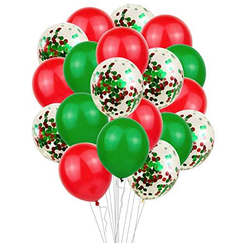 Jinlaili 30PCS Globos de Navidad de 12 Pulgadas, Globos de Confeti Verde Rojo, Globos de Látex de Feliz Navidad, Globos Decorativos Globos de Colores Globos Fiesta de Navidad Globos de Helio de látex