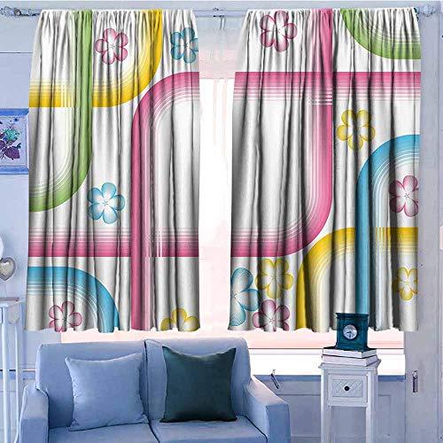 gordijnen voor woonkamer Decor Collection Thermische/kamer donker venster gordijnen Abstract lichtroze moderne regenboog Ombre gekleurde afbeelding vierkanten en scherpe lijnen geel roze en lichtblauw